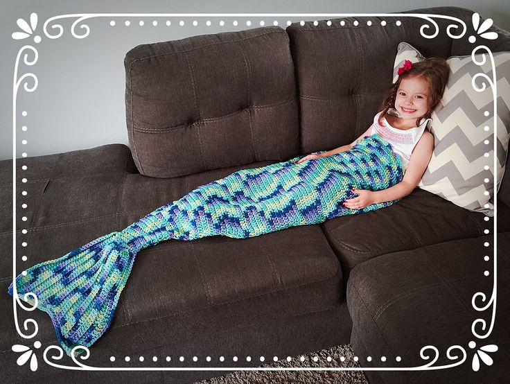 Mermaid Tail Wearable Crochet Blanket Afghan. What better way to cuddle up on the couch? Your child can be a mermaid while reading their favorite book, watching a movie, or just cuddling up with you! This tail is made for kids ages 1-8, or in adult size. Each blanket is shaped like a sack, and your child can cozy up into it with room to spare. -Kids: Laying flat, the blanket measures about 18 inches across on the top, and goes down to 5 inches towards the tail. The length of the sack part…