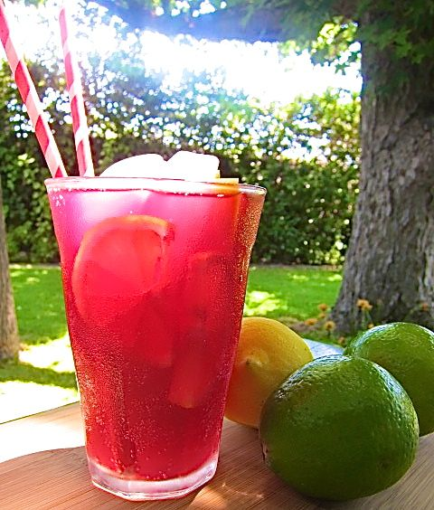 Tinto de Verano translated to Red Wine of Summer.  Bottle of red wine (I use Shiraz) 20oz of a lemon-lime soda (I use Fresca) Garnish with slices of lemon, lime, and/or orange!!  Yum!!
