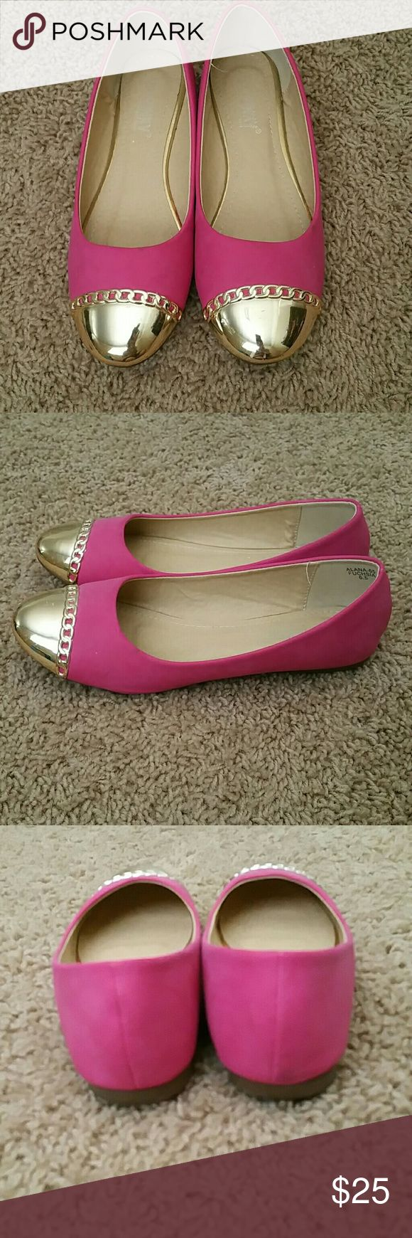 Pink and gold ballet flats In good condition. Has a couple marks, as shown.in lady 2 pictures. Via Pinky Shoes Flats & Loafers