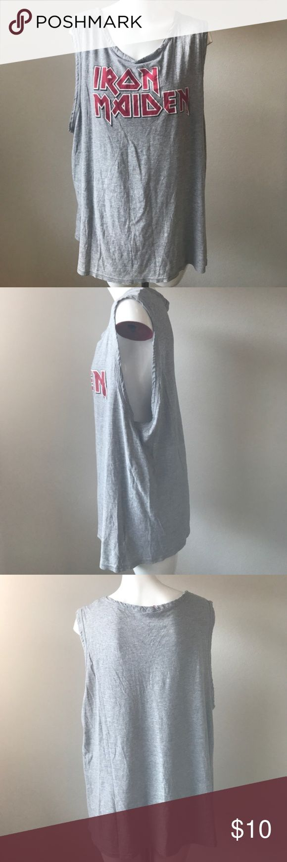 Iron Maiden muscle shirt You will look like a real badass rocker in this. Soft jersey material. Oversized style. Hardly worn. Super heavy metal rocker vibes! H&M Tops Muscle Tees