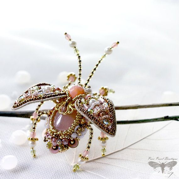 Feminine jewelry Beetle Brooch Insect jewelry Exquisite jewelry Designer Hand embroidered Rose Quartz Indian inspired Luxury Gift for Her