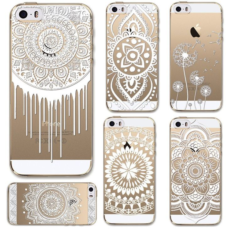 Cases for Apple iPhone 5 5S SE Transparent Floral Paisley Flower Mandala Henna TPU Silicon Phone Cover Shell Capa Back Case