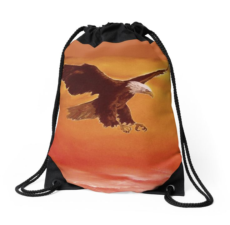 Drawstring Bag,  eagle,bird,orange,sky,cool,beautiful,fancy,unique,trendy,artistic,awesome,fahionable,unusual,accessories,for,sale,design,items,products,gifts,presents,ideas,redbubble