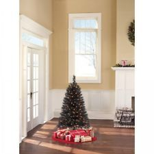 Artificial Christmas Tree Pre Lit 4 ft Spruce Black Xmas Trees Lights Decoration