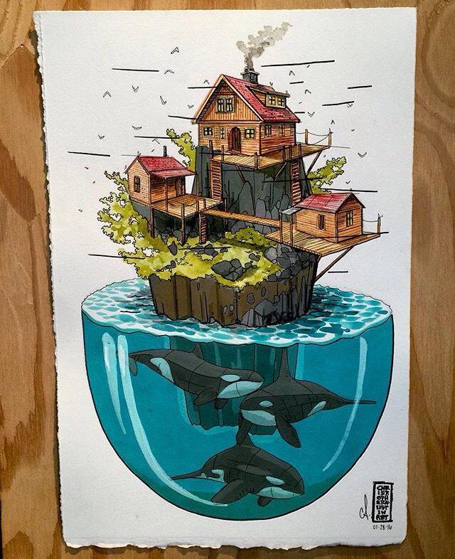 Chris Austin Floating Island illustration