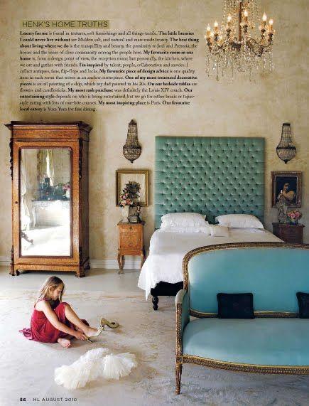 Aqua color inspiration, antique and eclectic interior design, bedroom. Single door antique French #armoire, settee.