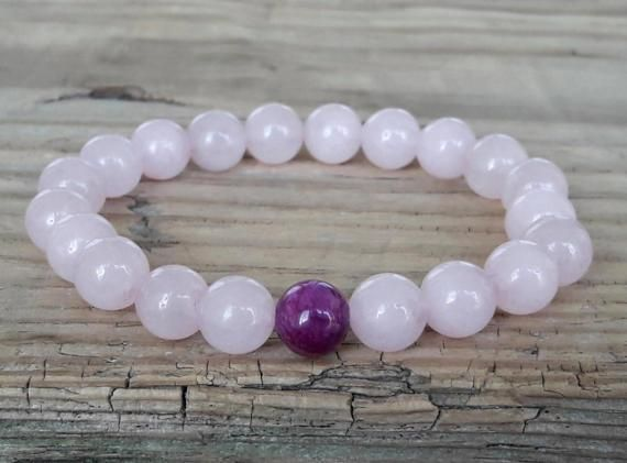 Pink quartz bracelet rose quartz bracelet charoite bracelet