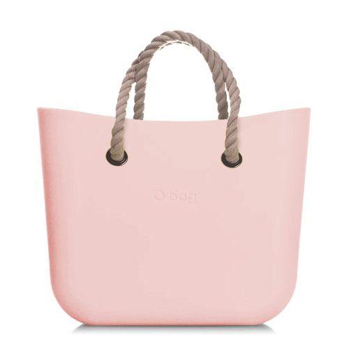 Zestaw | Mini Obag Body Różowa + Krótkie uchwyty | Sznurek, kolor naturalny.