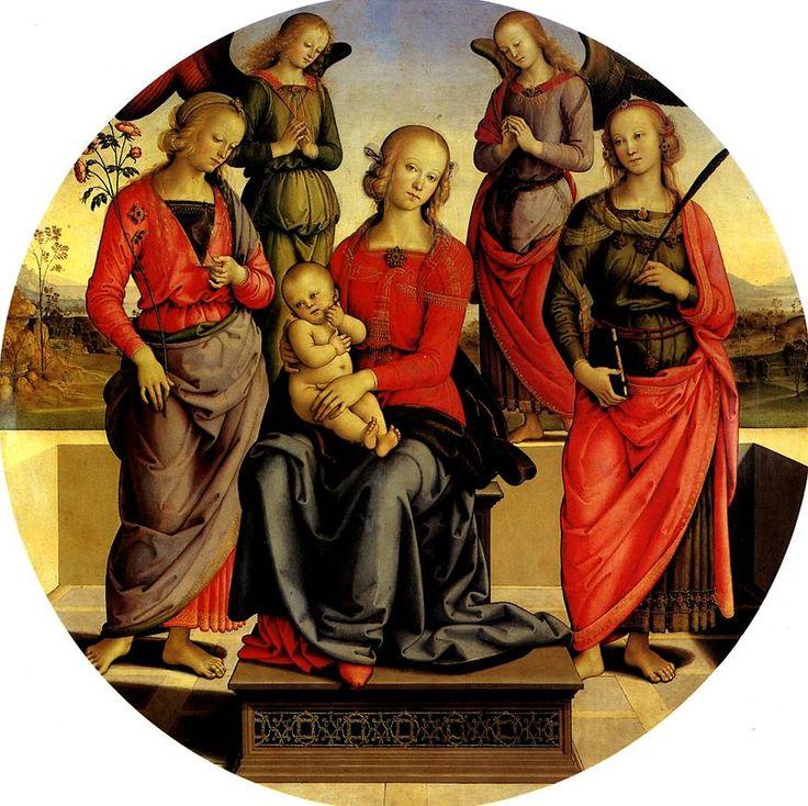 ПЕРУДЖИНО. Мадонна с младенцем в окружении ангелов, св. Розы и св. Екатерины.    Читта делла Пьеве, ок. 1448 — Фонтиньяно,1523   Дерево, диаметр 148 см. Поступила в Лувр в 1850 г.