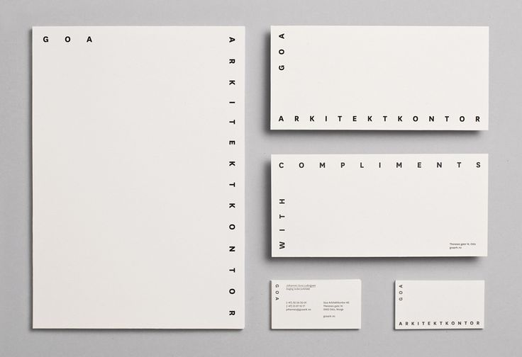 Logo and stationery with black foil detail designed by Heydays for Oslo based architecture studio Goa Arkitektkontor