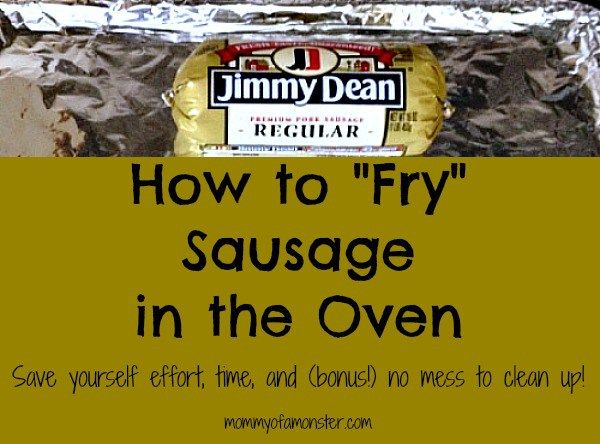 "How to cook sausage without any messes or splatters. When you oven ""fry"" sausage you're done in 20 minutes & throw away the mess! Includes a link to how to oven ""fry"" bacon too."