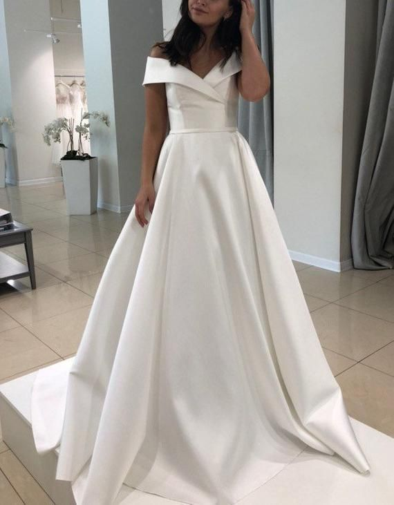 Classic satin simple wedding dress plus size wedding dress satin unique ivory white blush boho modern gown classic elegant bohemian sleeves