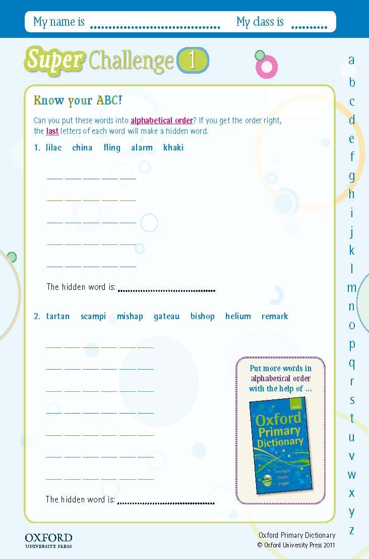 Download your free oxford primary dictionary super challenge worksheet can you put these words into