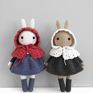 🐰🐰 Pattern by @mysweetiedolly . . #crochet #handmade #amigurumi #yarnlove #yarn #手編み #編み物 #crocheting #手作り #handknit # #cute #可愛い #crochetdoll #clothes #ootd #toy #handmadetoys #コーデ #friends #love  #diy #häkeln #dress #stricken  #セーター #うさぎ #bunny #hainchan