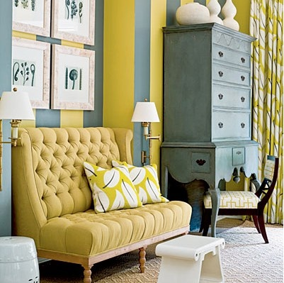 Love the vintage feeling of this upholstered sofa.