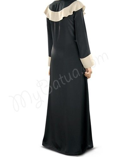 Beautiful Black and Warm Grey Party Wear Abaya | MyBatua.com : Samaa Abaya!  Style No: Ay-323   Shopping Link: http://www.mybatua.com/samaa-abaya Available Sizes XS to 7XL (size chart: http://www.mybatua.com/size-chart/#ABAYA/JILBAB)  •Round neckline with contrast fabric attached at yokeline. •Contrast warm grey fabric panel at one side with fabric buttons •Straight sleeves •Utility pockets on both sides •Matching Square Hijab (100x100 cm approx.) and Band can be bo