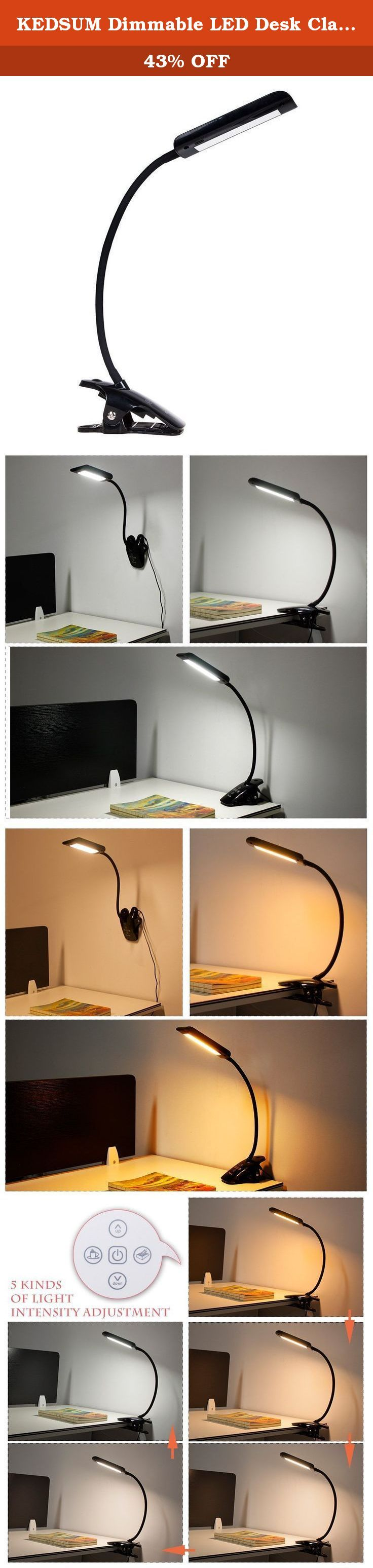 KEDSUM Dimmable LED Desk Clamp Lamp, 5 Lighting Modes, 5-Level Dimmer, Clip On Book Light,Touch Control Panel, Flexible Gooseneck, 7 Watt (Black). KEDSUM 7W Dimmable LED Clip-On Desk Lamp A multi function LED lamp that it is environmentally friendly and soft on the eyes .Perfect light it is available at the touch of a button. 5 Lighting Modes and 5-Level Dimmer : you will find the five mode with simple touch coffee button or reading button .Each lighting modes have five level brightness…
