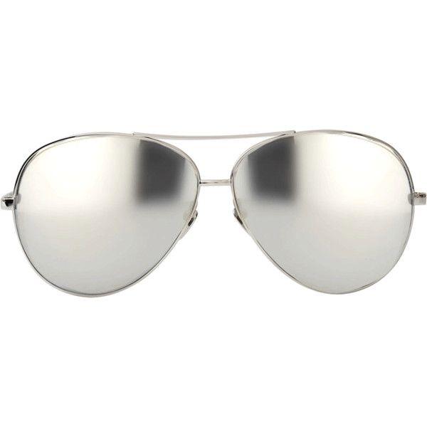 Linda Farrow White Gold Aviators ($1,215) ❤ liked on Polyvore featuring accessories, eyewear, sunglasses, glasses, lasit, mirror glasses, mirrored sunnies, oakley sunglasses, mirrored sunglasses and sunglasses eyewear