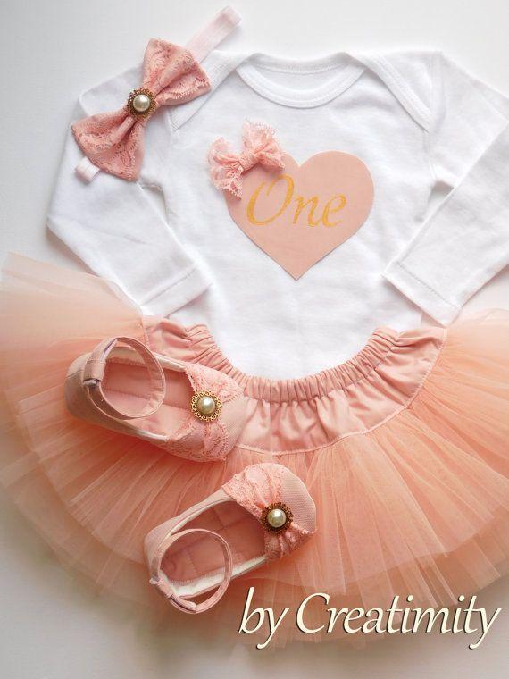 Baby girl birthday outfitsalmon pink baby by CreatimityElegance