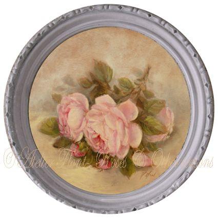 Petit tondo de roses anciennes © Atelier Flont