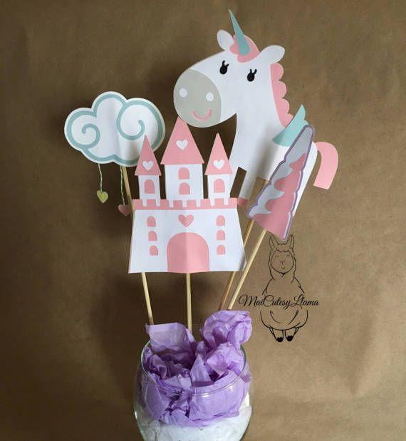 Unicornio fiesta centro de mesa fiesta suministros - centro de mesa-nubes-corazones-Unicorn Horn-Babyshower-mágica princesa partido-