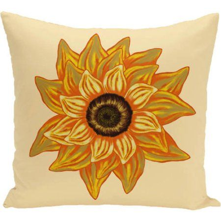 Simply Daisy 16 inch x 16 inch el girasol feliz Flower Print Pillow, Yellow