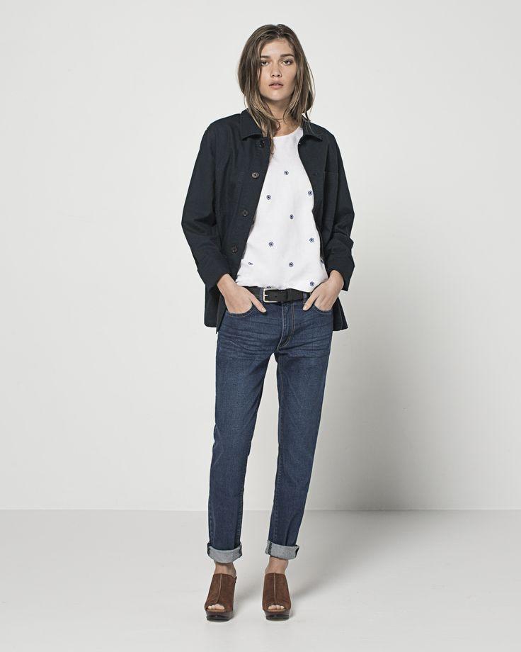Men's Cotton Ripstop 4 Pocket Overshirt (Navy) Embroidered Linen Daisy T (White) Retro Blue Relaxed Skinny (Vintage Indigo)