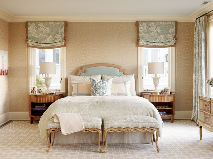 Window Treatments Bedroom Ideas Part - 37: Jay Jeffers Bedroom--beige And Blue Color Palette, Upholstered Headboard,  Soft Roman Shades