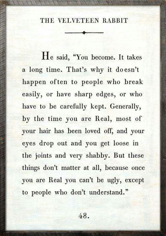 I love this quote from The Velveteen Rabbit... always makes me cry....