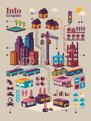 isometric city info graphic,