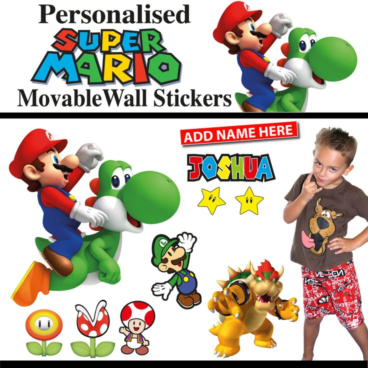 Personalised Super Mario Wall Stickers - Totally Movable