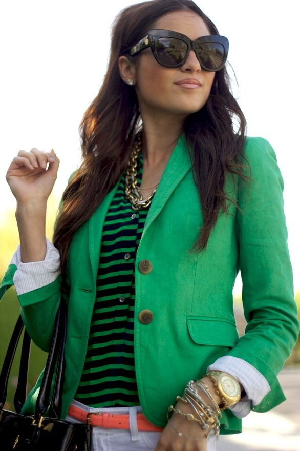 stripes + kelly green: Green Blazer, Fashion, Style, Color, Outfit, Kelly Green, Blazers