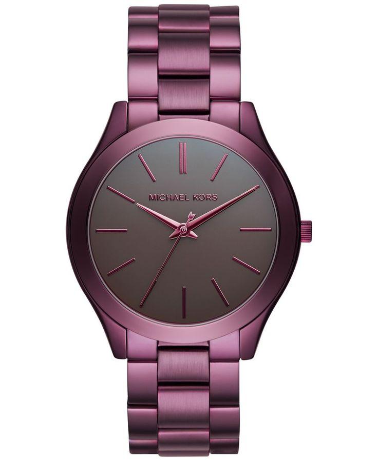 47b21e446a9 Michael Kors Women s Slim Runway Plum Stainless Steel Bracelet Watch 42mm  MK3551 - Limited Edition