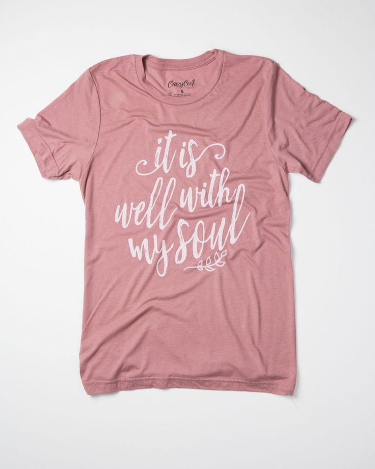 "This is a super-soft tri-blend t-shirt with our ""It Is Well With My Soul"" design. This item is Unisex and runs true to size. *Blush with vintage white design. S"