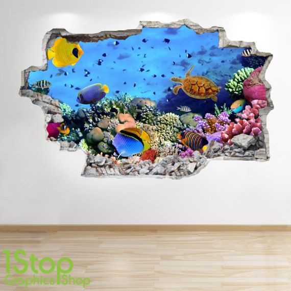 Tropische Fische Wand Aufkleber 3d Look - Dolphin Bullauge Ozeanstrand Schlafzimmer Lounge Z235