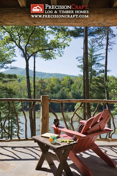 View of landscape from Deck | Post & Beam Home | PrecisionCraft Log Homes by PrecisionCraft Log Homes & Timber Frame, via Flickr