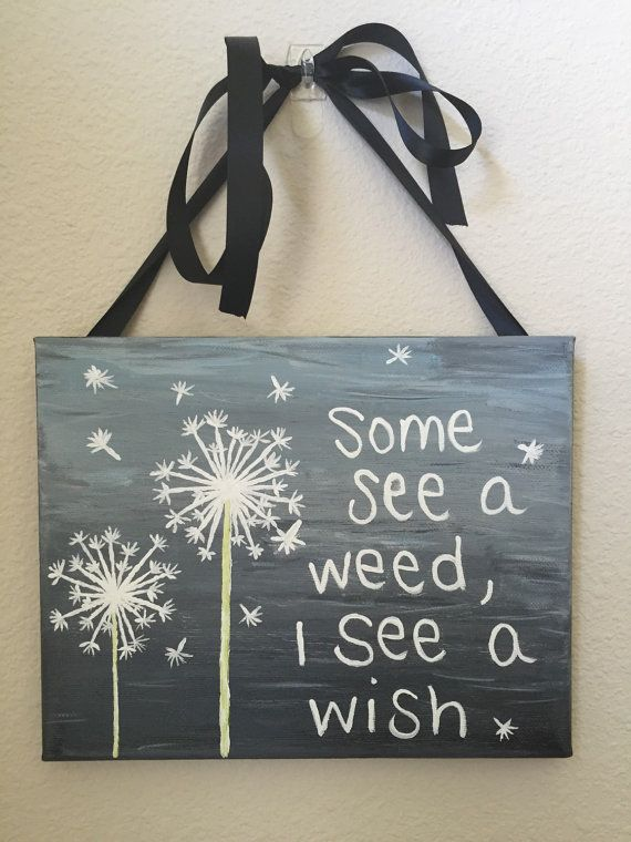 Dandelion Painting on Canvas 8 X 10 by LoopyArts on Etsy