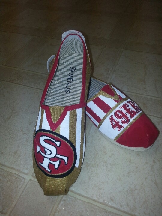 SF 49er custom hand painted shoes and toms. facebook.com/SassyYourSole