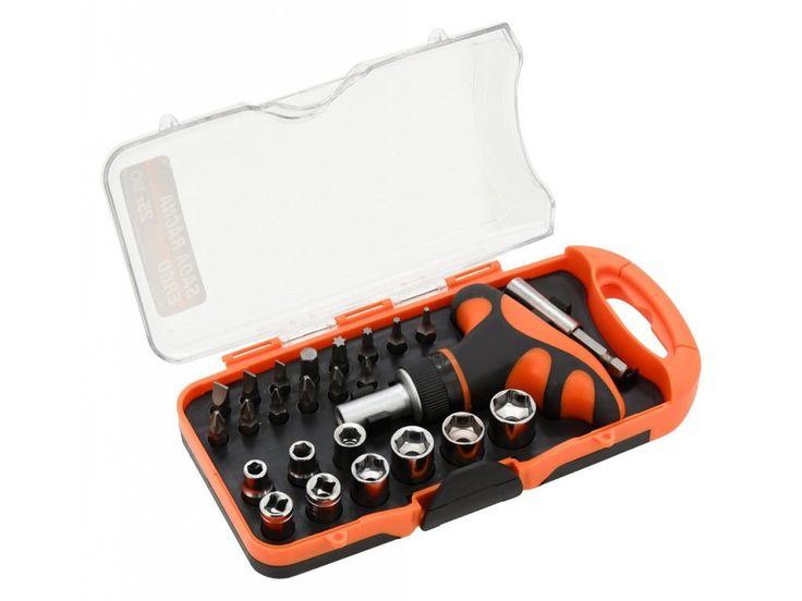 Ráčnový, ergonomicky tvarovaný šroubovák s celou řadou nejběžněji používaných bitů a nástavců.