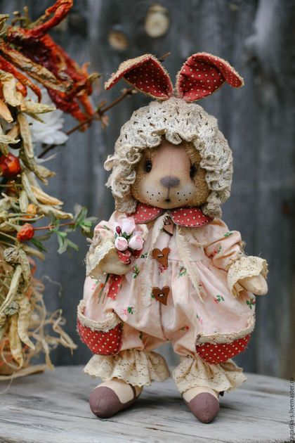 Fabric toy bunny / Игрушки животные, ручной работы. Ярмарка Мастеров - ручная работа. Купить Зайка Ягодка.. Handmade. Розовый, деревенский стиль, Пасха