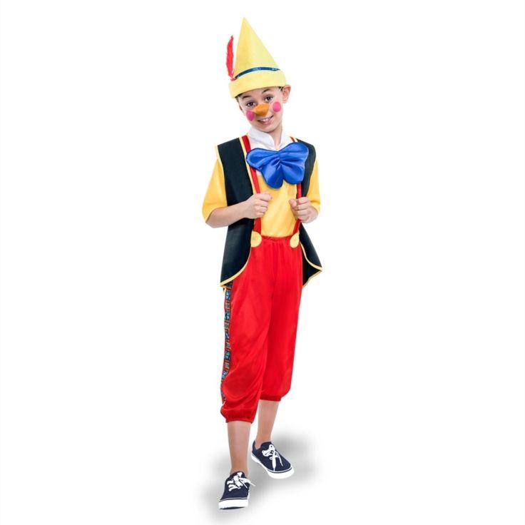El disfraz de pinocho para niño, incluye Pantalón, chaleco, camiseta, pajarita y gorro en DisfracesMimo.com