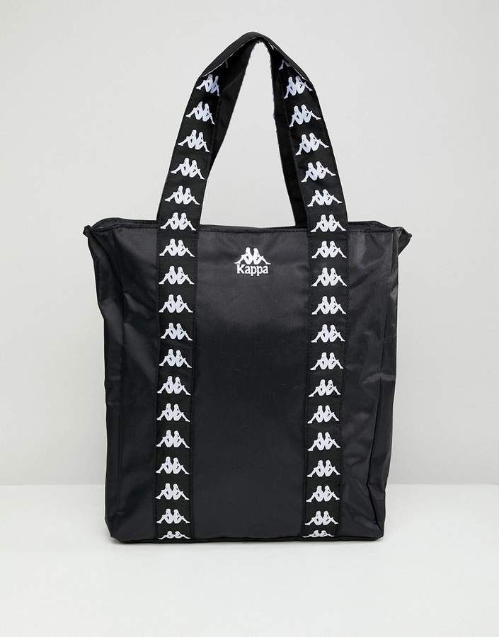 Kappa Kappa Black Tote Shopper Bag With Branded Taping Shopper Bag Black Duffle Bag Women Handbags