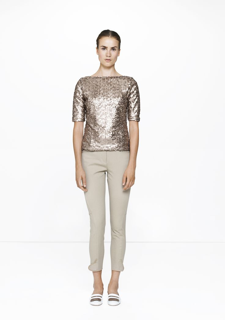 Beige Ascot trousers & sequined top /447/193  ELISE GUG SS15
