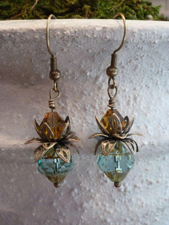 Czech glass beaded earrings fancy picasso by SusansBeadGarden, $12.00