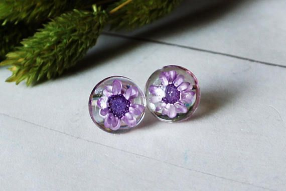 Purple flower earrings flower studs real plant jewelry pale