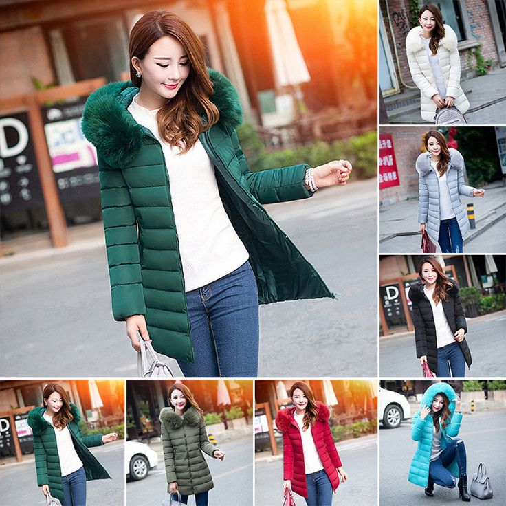 Fashion Winter Women Down Feather Parka Long Fur Collar Hooded Coat Jacket Parka