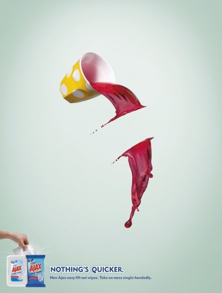 Ajax Household Cleaner: Juice    Nothing's quicker    Advertising Agency: Y, New Zealand  Executive Creative Director: Josh Moore  Creative Director: Scott Henderson  Creatives: Tony Haigh, Lisa Dupre  Client Team Directors: Kate Symes, Lisa Li  Planner: Jason Wells  Photographer: Danny Eastwood  Retoucher: Cream Studios  Designer: Tim O'Neill  Account manager: Steph Patton