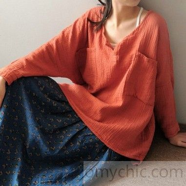 Brick red women linen shirt plus size women cotton blouse top