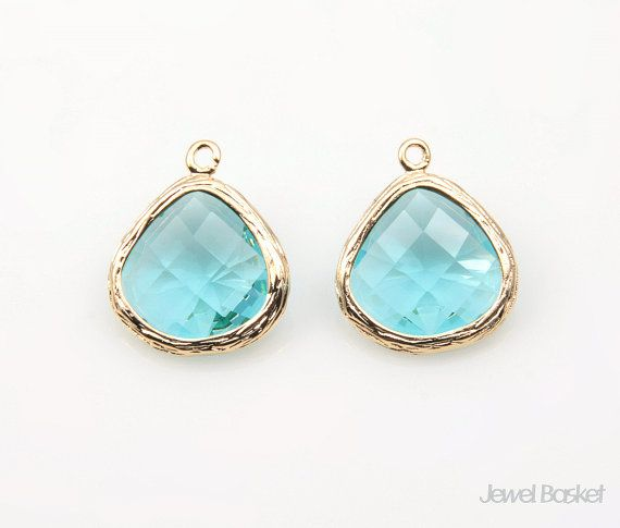 - Highly Polished Gold Plated over Brass (Tarnish Resistant) - Aquamarine Color Glass - Brass and Glass / 13mm x 16mm - 2pcs / 1pack