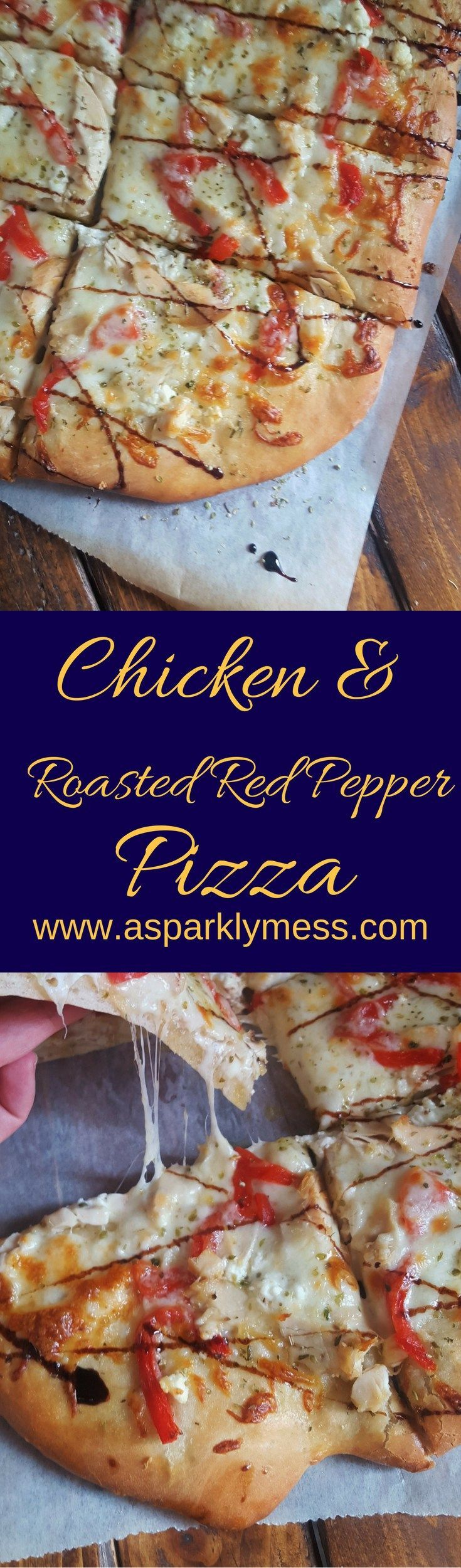 This Chicken & Roasted Red Pepper Pizza is a delicious option for pizza night! A flavorful garlic base and topped with melty cheesy greatness.